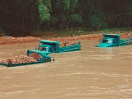 trucks in flood
